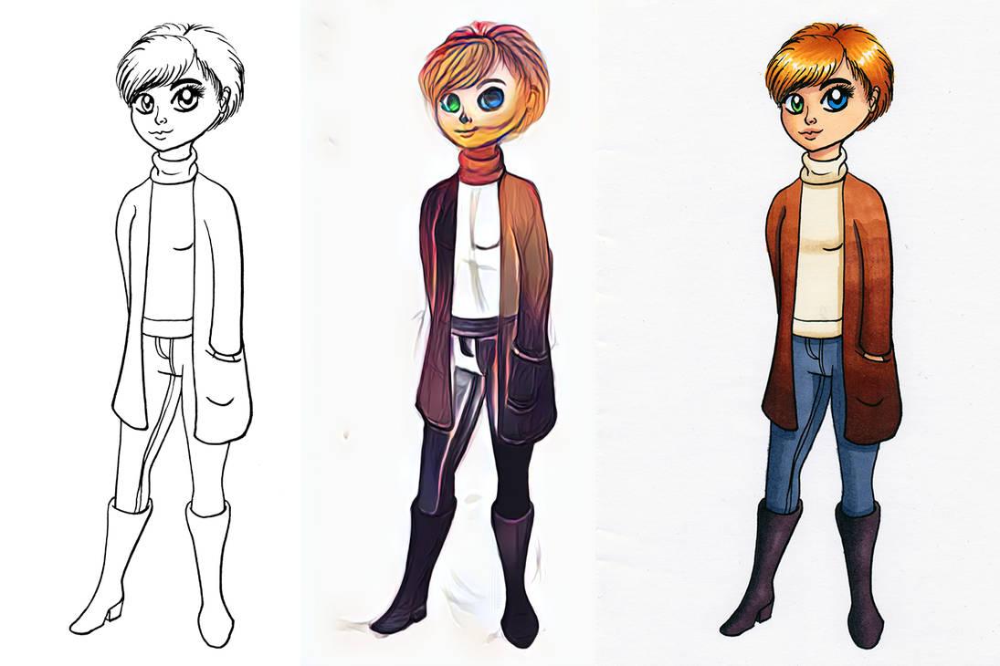 Heterochromia Girl process by Chibi-Sugar