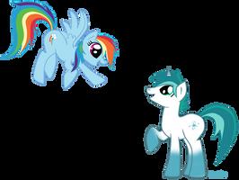 Azure Glow meets Rainbow Dash by mlpAzureGlow