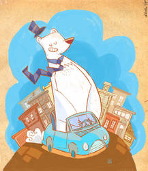 Polar bears drive cars by JuanCaminador
