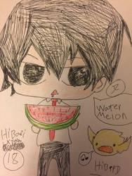 Khr Hibari is like eat watermelon  by Bluedragoncartoon