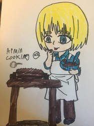 AOT armin cooking  by Bluedragoncartoon