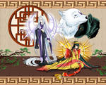 Tsukuyomi and Amaterasu - [Japanese Myth Contest] by Naahchan