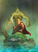Beowulf vs Grendel's mother by evilfranco