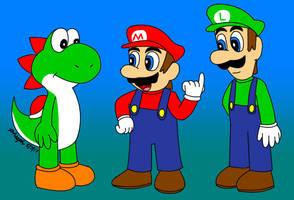 Yoshi, Mario, and Luigi by pheeph