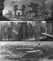 Sci fi quick sketches by alex-ichim