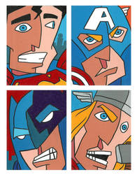 Cubism Heroes by ArtistXero