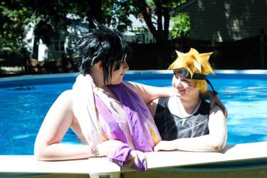 Sasuke and Naruto by the Pool by ValPerch1113