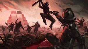 Battle in Tenochtitlan by Jastorama