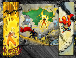 Superman VS Gokou Page 8 COLOR by Ratatman