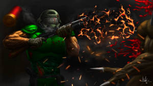 Classic Doomguy Shotgun blast by Finfr0sk