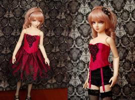 Fuschia and Black Corset and Skirt Set by kawaiimon