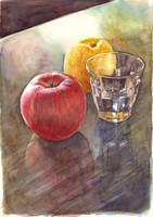 Apple, Grapefruit, Glass by Tarsanjp