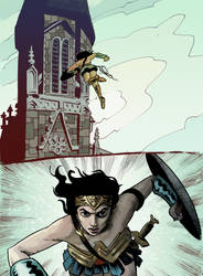 Wonder Woman vs. Church by davechisholm