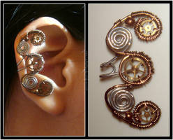 Steampunk Curly ear cuff by Meowchee