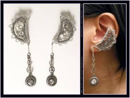 Steampunk Silver Moon ear cuffs by Meowchee