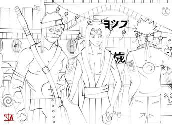 Haku Zabuza meet Naruto Lineart by swayanouk