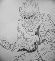 Beat Up Goku lineart by gokujr96