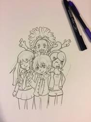 Danganronpa Group Sketch by ForgottenWinds