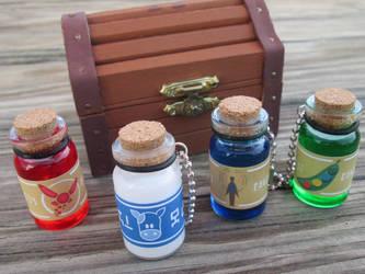 Legend of Zelda keychain bottles by kaztielkrafts