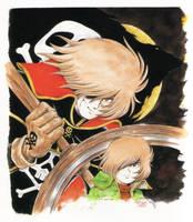 Captain Harlock and Tetsuro by Kazuo Komatsubara by FutureElectro