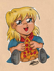 Little Ella Eating Pizza by JimmyDrawsArt
