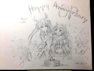 Tohru, Kanna and Cake (OP anniversary) by Mvlk