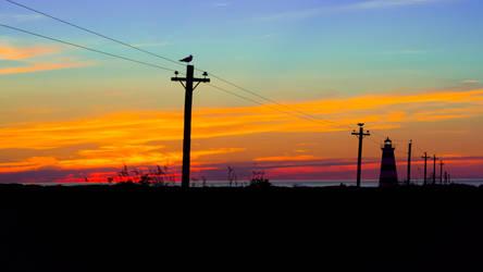 Sunset, Disney-coloured sky, lighthouse, seagulls by MildlyReactive