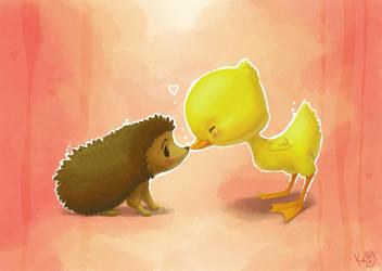 Hedgehog and Duckling by Kellykatz