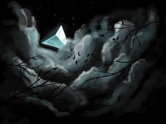 Two triangled moon - Drawlloween - Day12 Moon by Kellykatz