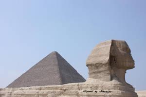Sphinx + Pyramid I by LexartPhotos