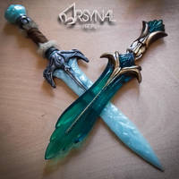Weapons for Bosmer cosplay photoshoot by ArsynalProps