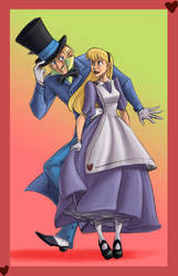 Mad Hatter and Alice by crumblygumbly