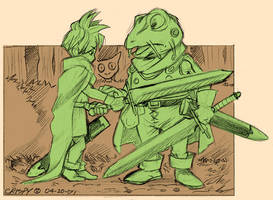 ChronoTrigger: Frog and Tata by crumblygumbly
