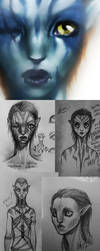 Na'vi Sketch Dump by sickdelusion