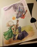 Born music-battling a dragon by Milena-Zaremba