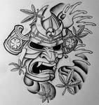 Samurai Mask and Japanese Maple by 814CK5T4R