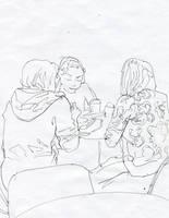 multi-figural sketch by soiseiseke