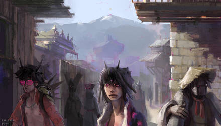 Weird slums street by EwaLabak