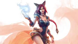 Foxfire Ahri wallpaper by EwaLabak