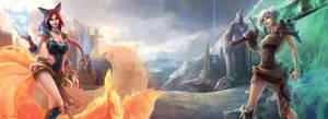 League of Legends - Foxfire Ahri and Riven by EwaLabak