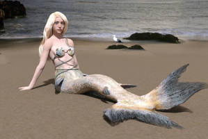 Ancilla As Mermaid On Beach by dazinbane