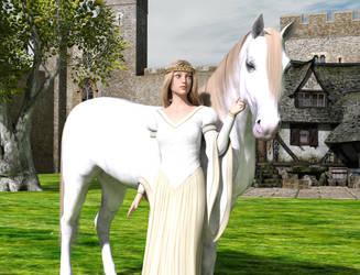 Princess And White Horse by dazinbane