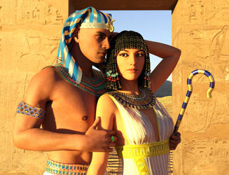 Ramesses And Nefertari Sunset by dazinbane