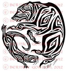 Bear and Otter Tribal Tattoo by tarkheki