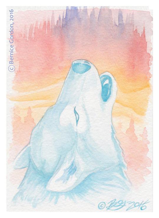Blue Wolf in the Northern Lights by tarkheki