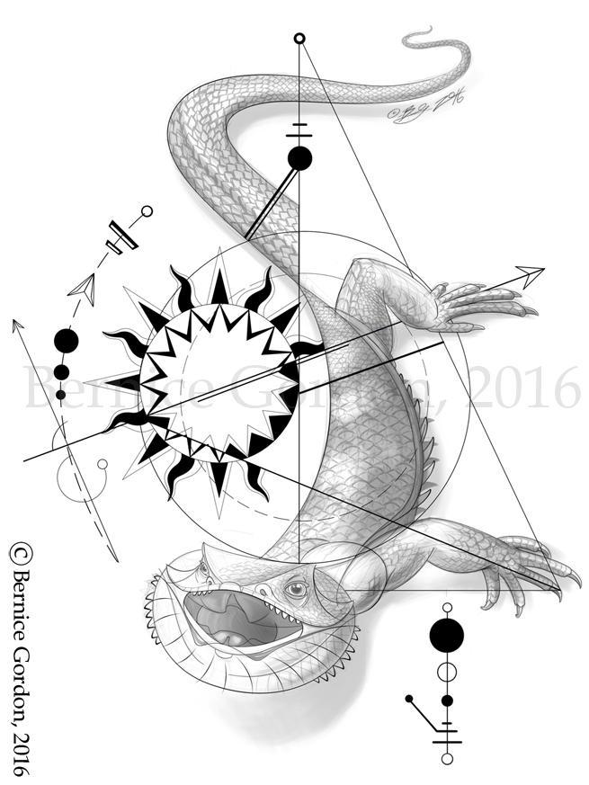 Geometric Tattoo Bearded Dragon by tarkheki