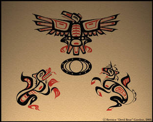Raven, Wolf, Unicorn and Moon by tarkheki