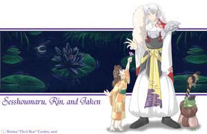 Sesshoumaru, Rin, and Jaken by tarkheki