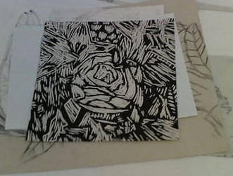 Lino Cutting Rose by AngelicVirgo