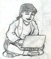 Girl using laptop by WombatOne